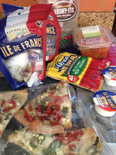 Happy July 4th Chez Nous: frankfurters, pizza, brie, salsa and chocolate. Which is American? Let's ask a Wampanoag...