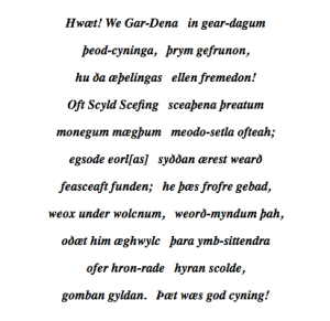 First 11 lines of Beowulf. Greek to us.