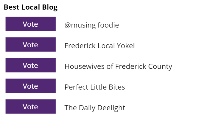 Finally, select Local Blog and choose us!! We hear that a few of these blogs don't even originate here in Frederick so make sure you choose local!