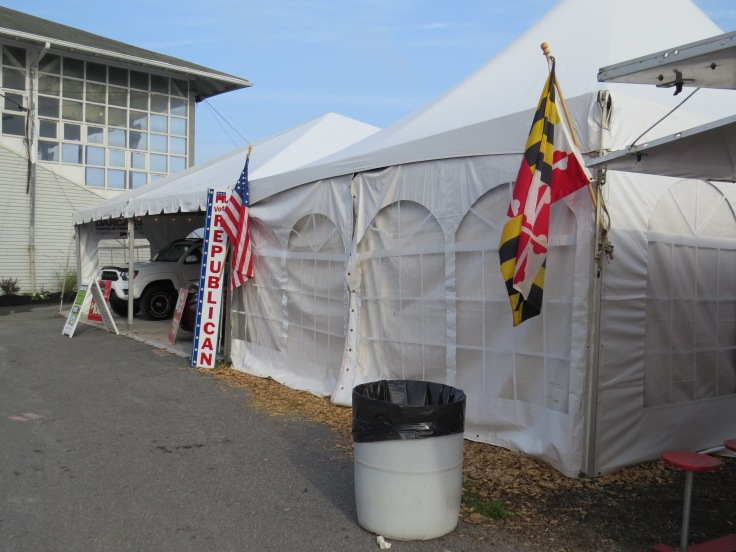Alert! Alert! We have a possible flag code violation at the Republican tent! It appears the flag was displayed all night without proper illumination. Someone get Trump on the phone quick!